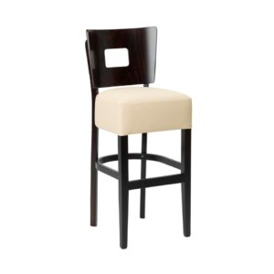 Modern design stool with upholstered seat and veneer back section.