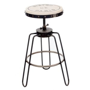 Varnished Steel Frame Stool
